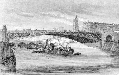 The new Bridge of Arcole, in Paris, vintage engraving.