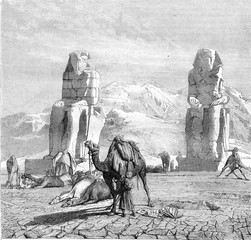 The statues of Memnon, vintage engraving.