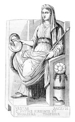 Vesta, goddess of the Bakers, vintage engraving.
