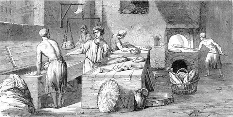 A bakery in the eighteenth century, vintage engraving.