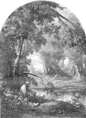 Democritus landscape, vintage engraving.