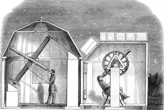 Amateur observatories, Interior views, vintage engraving.