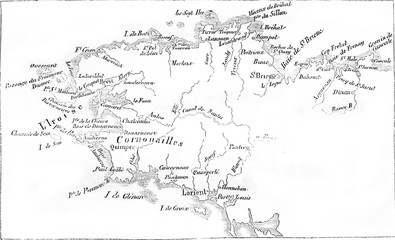 Map alongside Britain, vintage engraving.