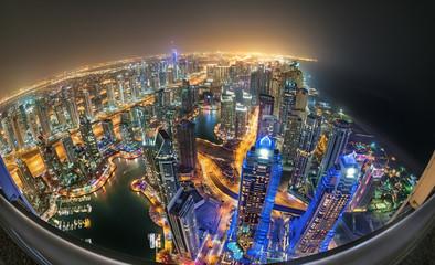 Dubai Marina 1000fts Above with Fisheye Planetary View