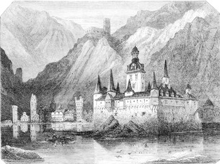 The Pfalz, Rhine castle, vintage engraving.