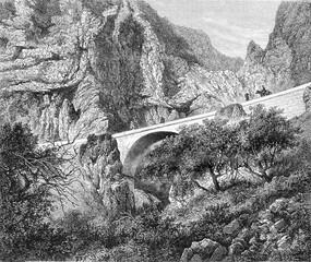The St. Louis Bridge, Alpes Maritimes, vintage engraving.
