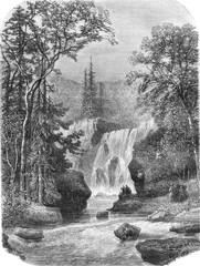 Geroldsauer Waterfall, vintage engraving. - 106305164