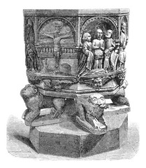Baptismal font of the church of Luxeuil, vintage engraving.