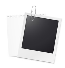 Photo frame with note sheet isolated on wgite background. Can be used to design photo albums, promo, advertising, etc.