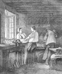 A Locksmith Shop, vintage engraving.