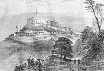 Manor and village Montmelas, vintage engraving.