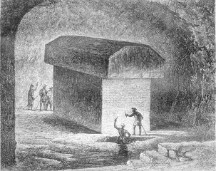Tomb of an Apis ox in the Serapeum of Memphis, vintage engraving