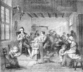 In school, by loose, vintage engraving.