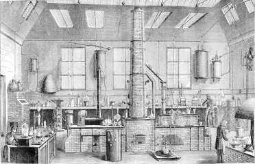 Chemistry Laboratory at the Ecole Normale in Paris, vintage engr