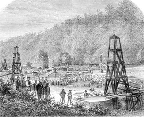 Oil extraction, Woodford wells and Philip, Pennsylvania, vintage