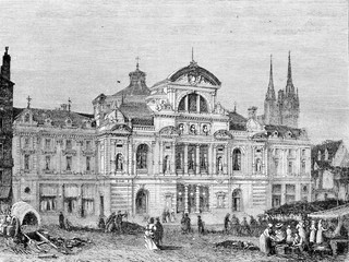 New Theatre of Angers, vintage engraving.
