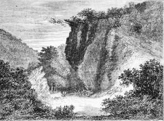 The Ardennes, La Roche aux Corpiats, vintage engraving.