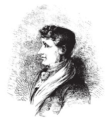 Joseph Joubert. after a lithograph of Vogt, vintage engraving.