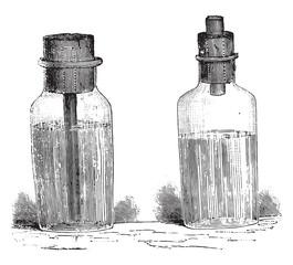 Bottles gasoline, vintage engraving.