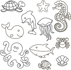 Vector illustration. Set of marine life. Outline for the painting.