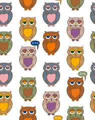 Seamless Pattern with Color Owls