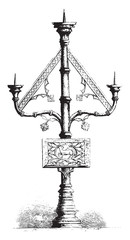 Candelabra with three branches in the church of Saint-Vaast at G