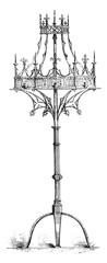 Lights crown the fifteenth century, Belgium, vintage engraving.