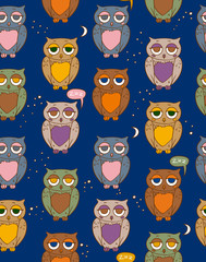 Seamless Pattern with Sleepy Color Owls in the Night Sky