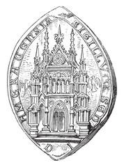 Officialité of Cambrai. Edicule Gothic, vintage engraving.