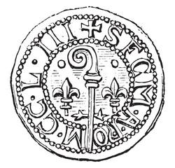 Against-seal, vintage engraving.
