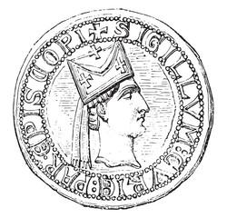 Officialité of Paris. Bishop of head in profile, vintage engrav
