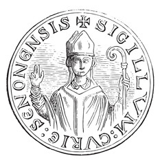 Seal of officialdom direction. The figure of the archbishop seen