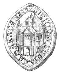 Officialité of Cambrai. Edicule Roman, vintage engraving.