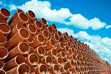 orange Industrial pipes pvc stock
