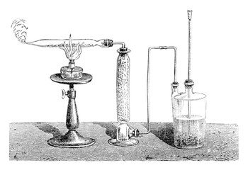 Preparation of pyrophoric iron, vintage engraving.