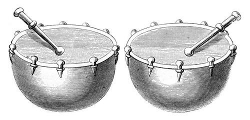 Timpani of war in 1536, vintage engraving.