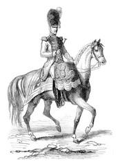 Timpanist gendarmes of the Imperial Guard in 1804, vintage engra