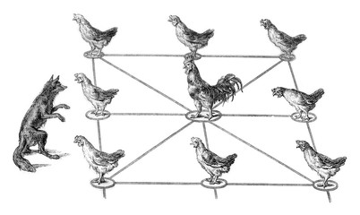 The Fox and Chickens, vintage engraving.