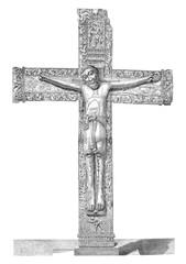Madrid museum, Ivory Christ, vintage engraving.