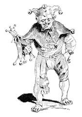 Jester, vintage engraving.