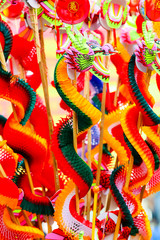 Colorful Chinese dragon plastic and paper toy for Chinese new year happy and goodluck.