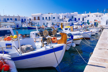 Beautiful famous traditional quaint fishing village of Naoussa, Paros island, Greece