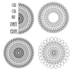Circular monochrome patterns like flowers