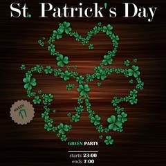 Background St. Patrick's Day clover of shamrocks on a wooden surface .Vector illustration. EPS 10.