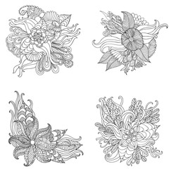 Set of Hand drawn artistic ethnic ornamental patterned floral frame in