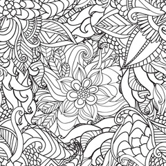 Coloring for adults. Ethnic statue, sculpture,doll with patterns. Print on t-shirt , tattoo.doodle, zentagl, style.