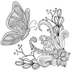 Hand drawn artistic ethnic ornamental patterned floral frame with a butterfly