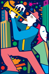 Jazz Player in a City, Trumpet (Vector Art)