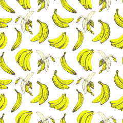 Hand-drawn sketch of banana. Seamless nature background.