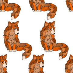 Seamless pattern Fox , dog or wolf of the waves